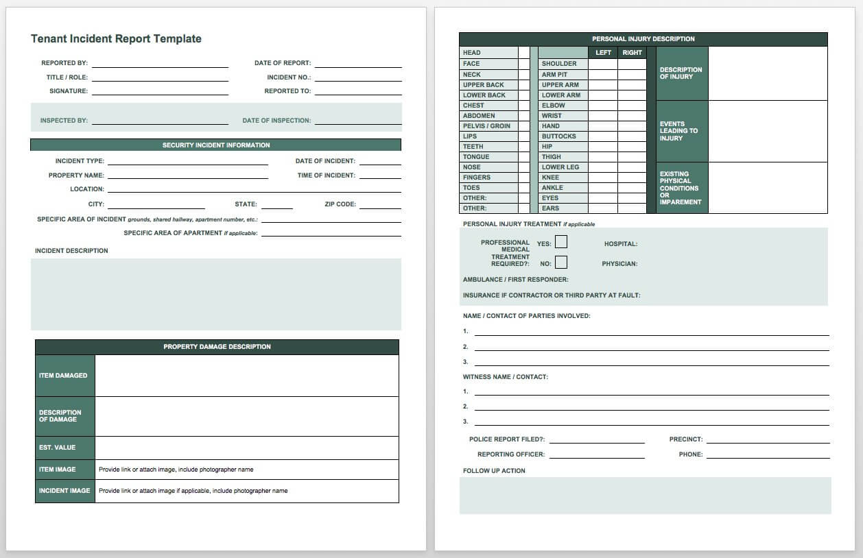 Free Incident Report Templates & Forms | Smartsheet Throughout Insurance Incident Report Template
