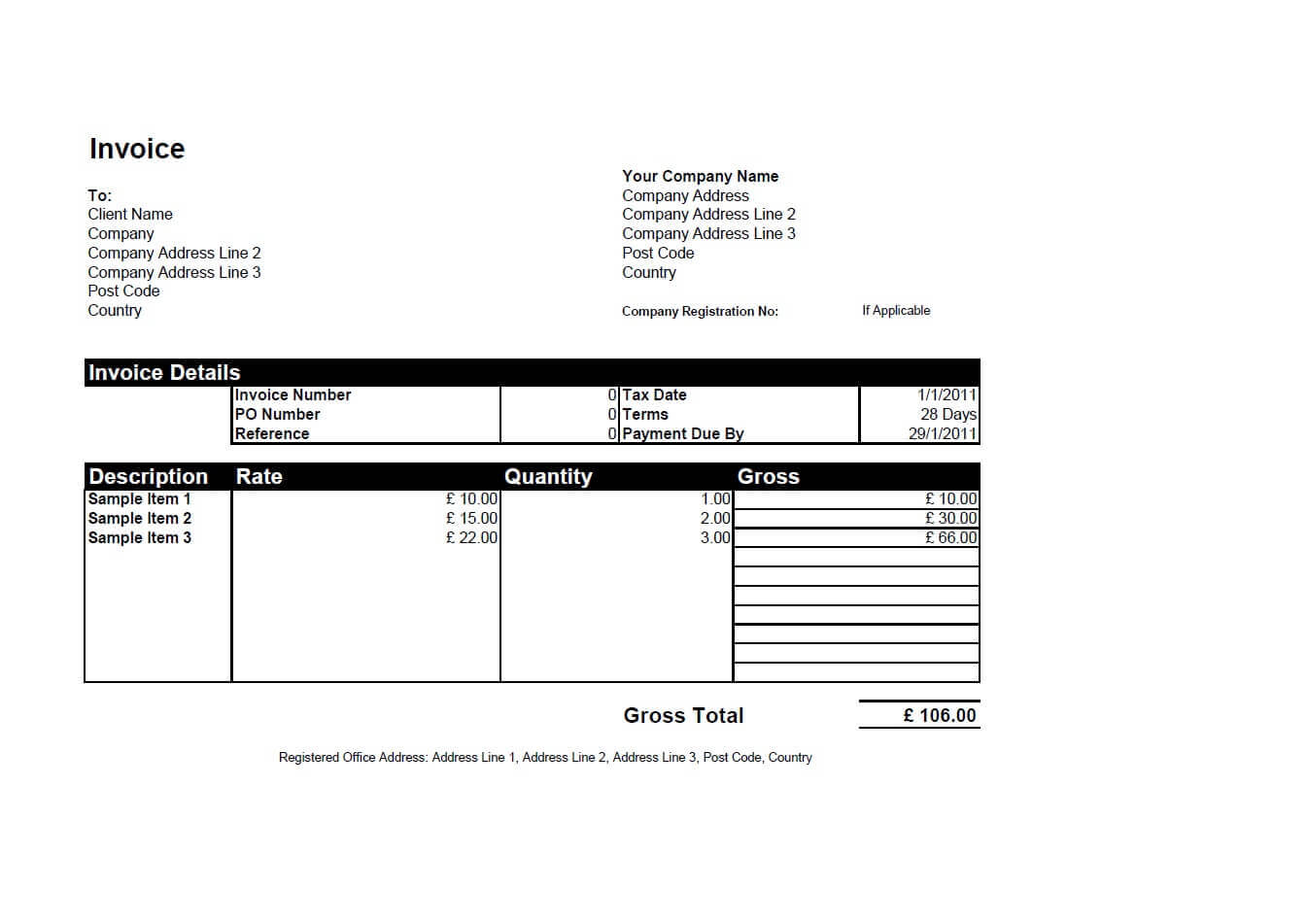 Free Invoice Templates For Word, Excel, Open Office Within Free Downloadable Invoice Template For Word