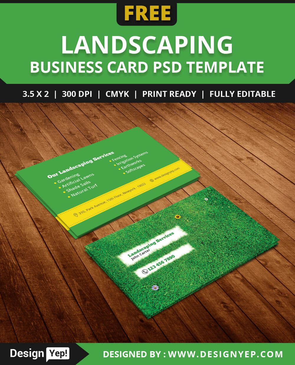 Free Landscaping Business Card Template Psd | Free Business Regarding Gardening Business Cards Templates