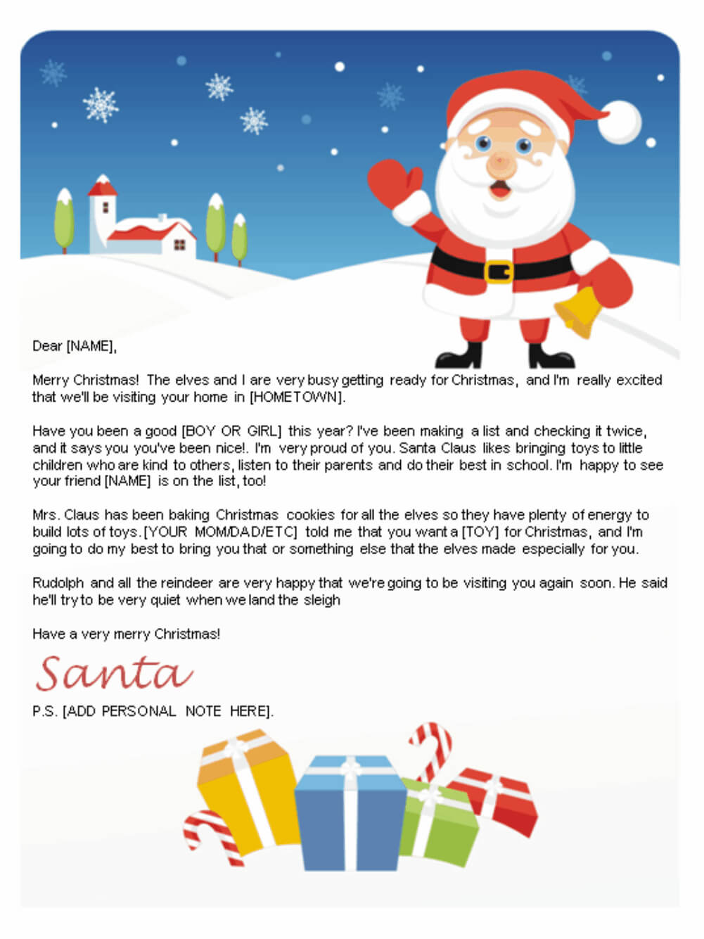 Free Letters From Santa | Santa Letters To Print At Home Throughout Santa Letter Template Word