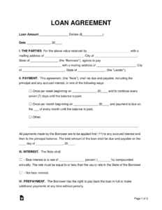 Free Loan Agreement Templates – Pdf | Word | Eforms – Free with Blank Loan Agreement Template