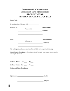 Free Massachusetts Bill Of Sale Forms – Pdf | Eforms – Free for Vehicle Bill Of Sale Template Word