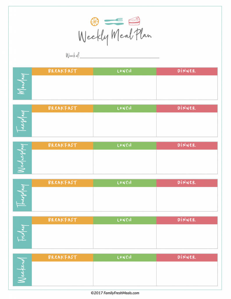 Free Meal Plan Printables - Family Fresh Meals For Blank Meal Plan Template