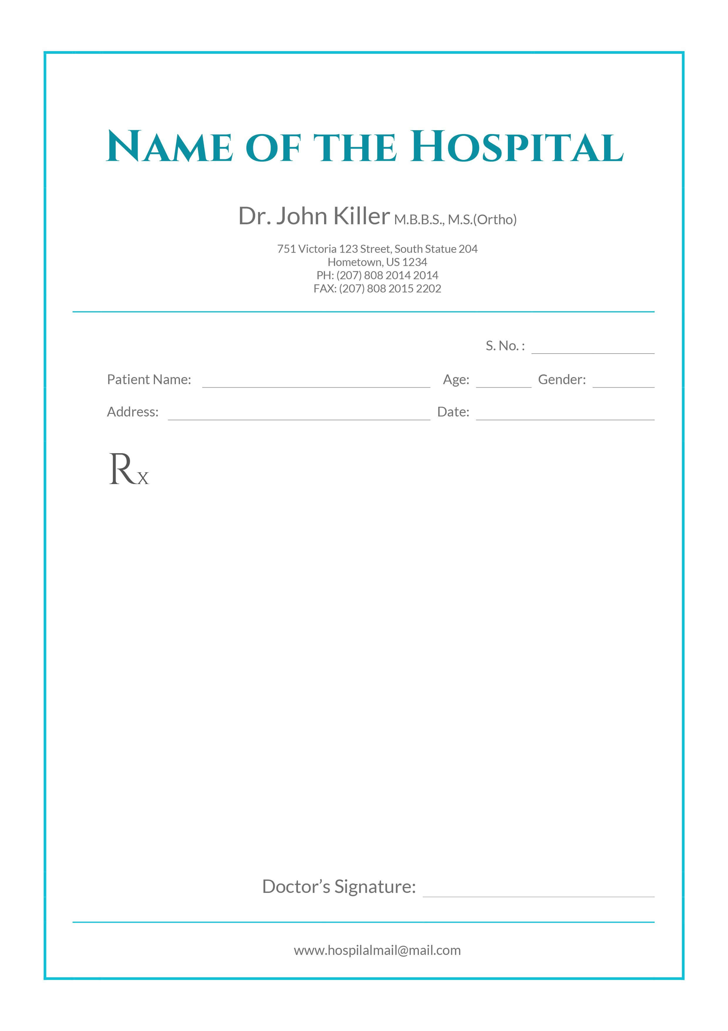 Free Medical Prescription Format | Download In 2019 Throughout Doctors Prescription Template Word