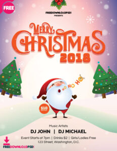 Free] Merry Christmas Flyer 2018 | Freedownloadpsd in Christmas Brochure Templates Free