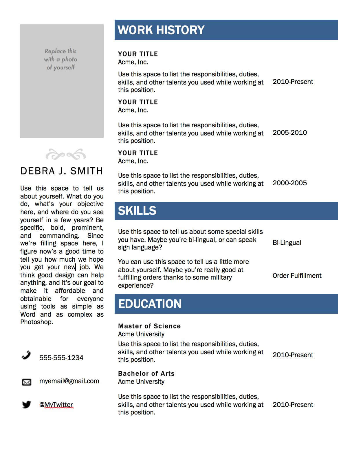Free Microsoft Word Resume Template | Projects To Try Throughout Resume Templates Microsoft Word 2010