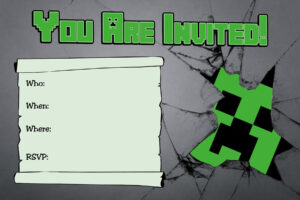 Free Minecraft Creeper Inspired Birthday Invitation with Minecraft Birthday Card Template