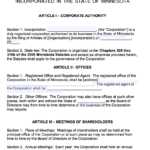 Free Minnesota Corporate Bylaws Template | Pdf | Word | with Corporate Bylaws Template Word