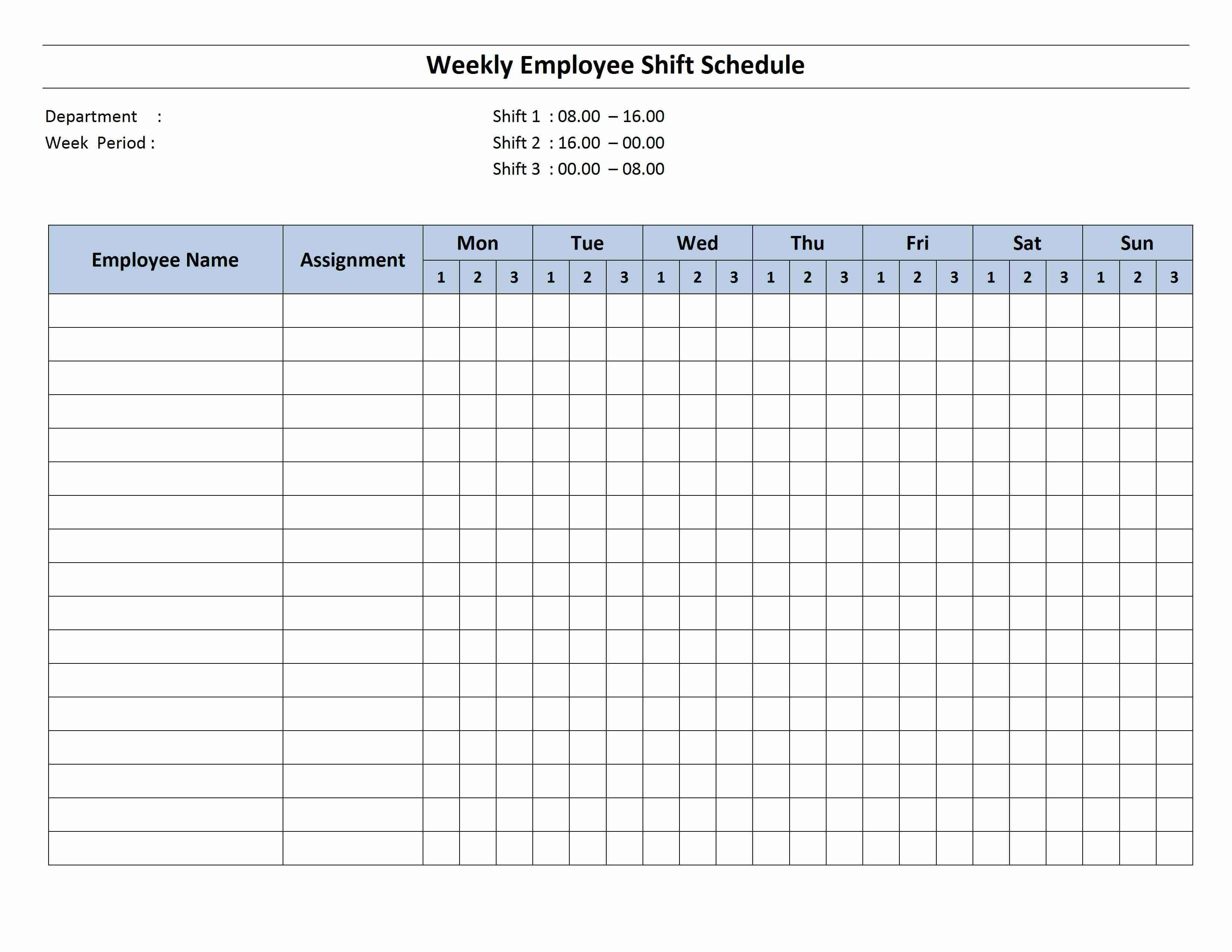 Free Monthly Work Schedule Template | Weekly Employee 8 Hour In Blank Monthly Work Schedule Template