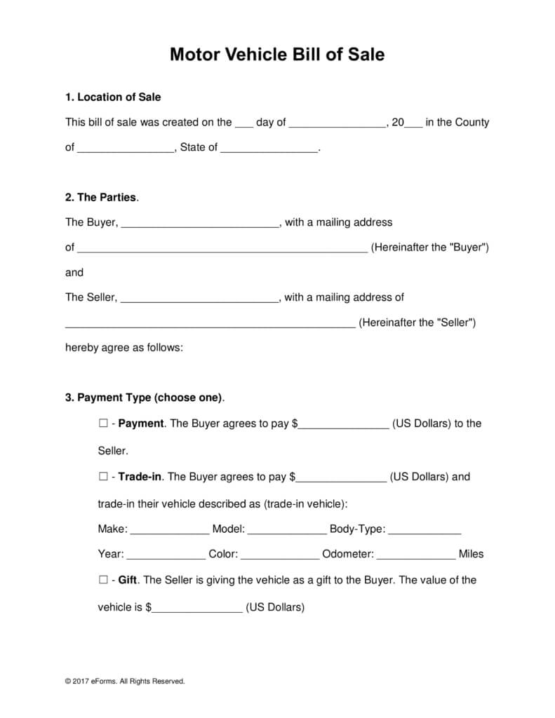 Free Motor Vehicle (Dmv) Bill Of Sale Form - Word | Pdf With Vehicle Bill Of Sale Template Word