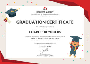 Free Nursery Graduation Certificate | Kindergarten Teachers pertaining to Preschool Graduation Certificate Template Free