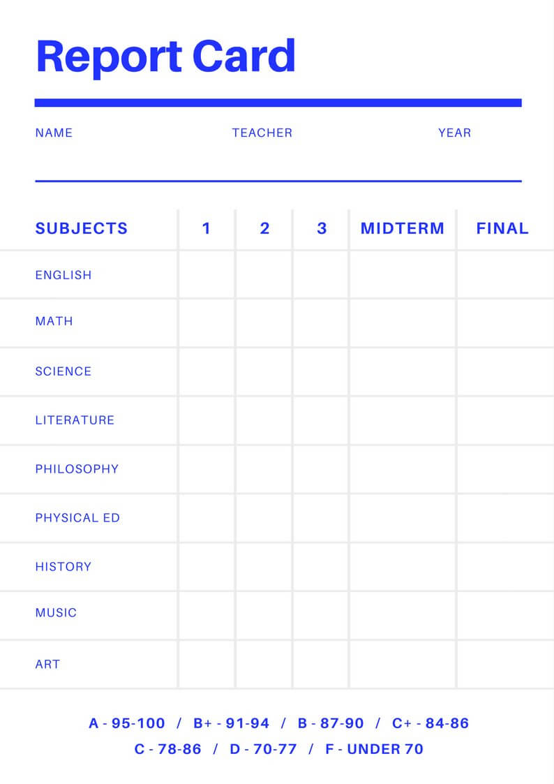 Free Online Report Card Maker: Design A Custom Report Card With Regard To Result Card Template