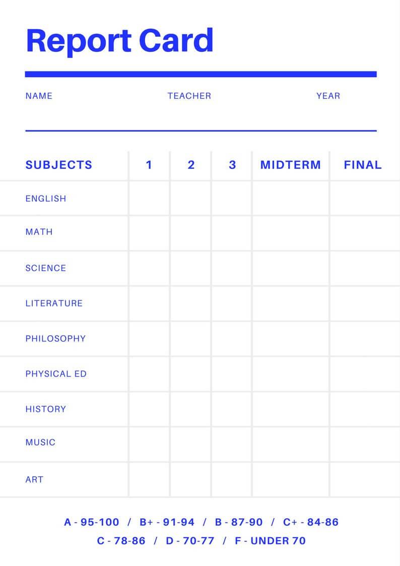 Free Online Report Card Maker: Design A Custom Report Card With Report Card Template Middle School