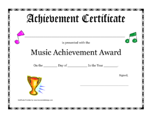 Free Printable Achievement Award Certificate Template for Choir Certificate Template