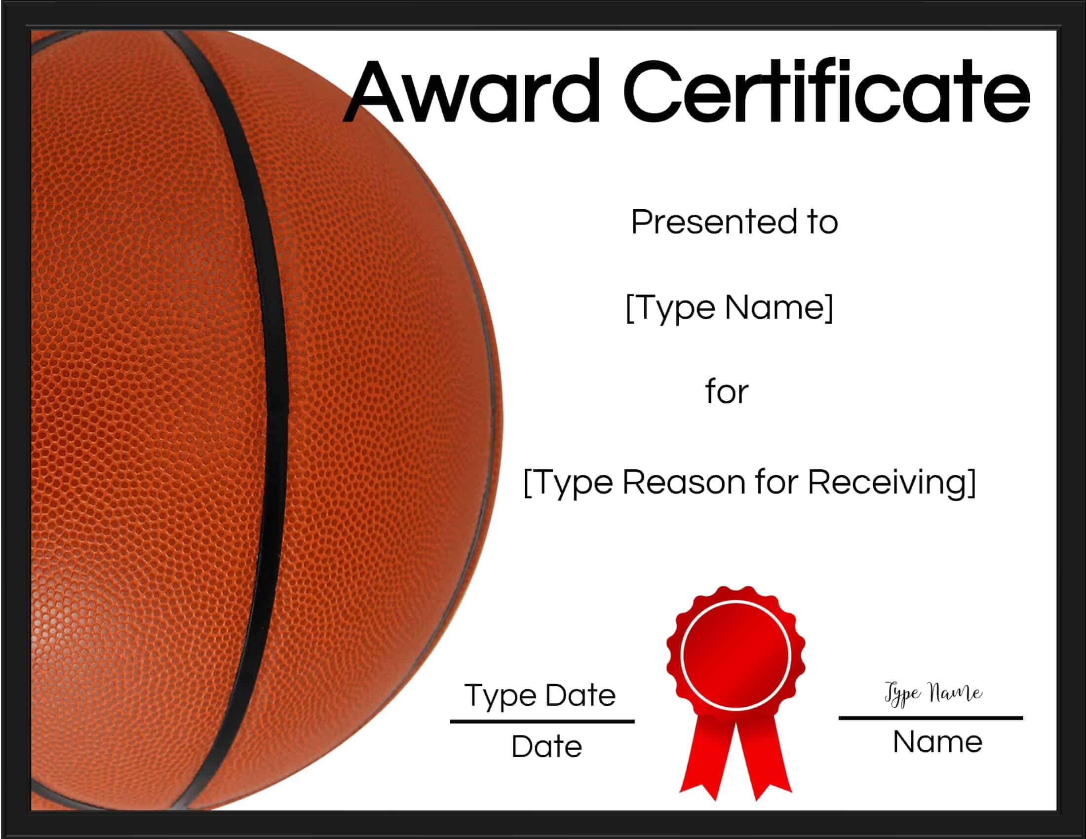 Free Printable Basketball Certificates   Customize Online Intended For Basketball Certificate Template