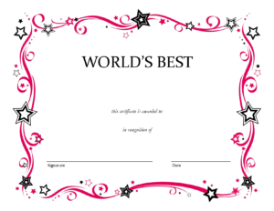 Free Printable Blank Award Certificate Templates Chainimage for Generic Certificate Template