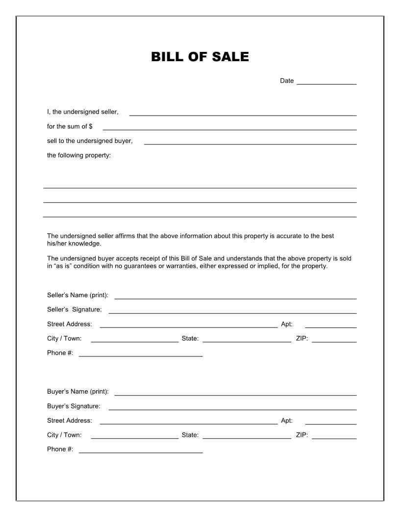 Free Printable Blank Bill Of Sale Form Template - As Is Bill Inside Blank Legal Document Template