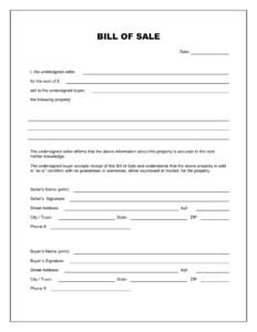 Free Printable Blank Bill Of Sale Form Template – As Is Bill with regard to Car Bill Of Sale Word Template