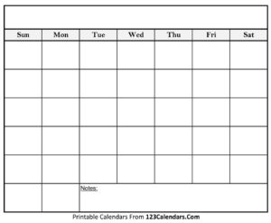 Free Printable Blank Calendar | 123Calendars within Blank Calander Template