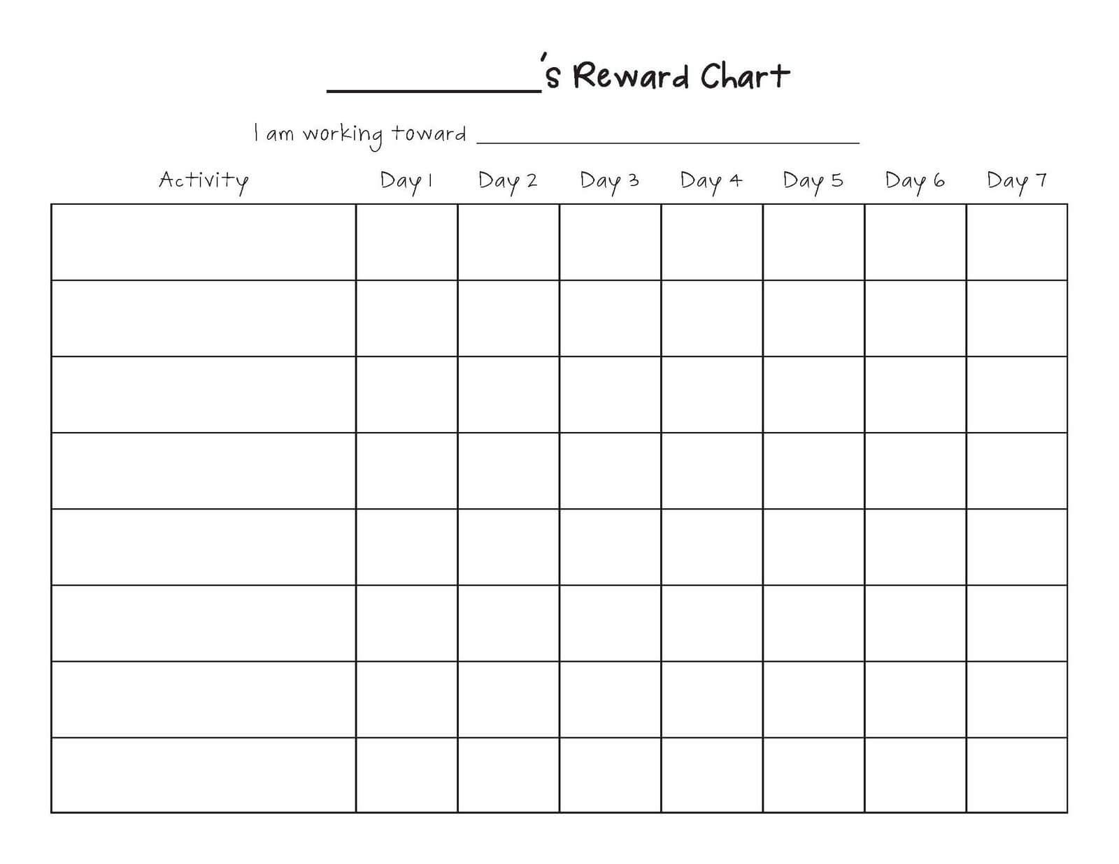 Free Printable Blank Charts | Printable Blank Charts Image Intended For Blank Reward Chart Template