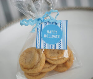Free Printable: Blue And White Holiday Cookie Exchange regarding Cookie Exchange Recipe Card Template