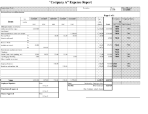 Free Printable Business Employee Expense Report Template For regarding Company Expense Report Template