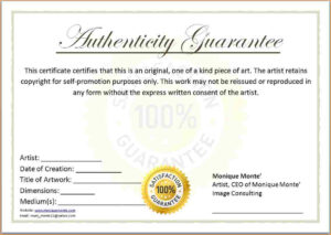 Free Printable Certificate Of Authenticity Templates | Mult inside Certificate Of Authenticity Photography Template
