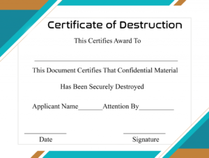 Free Printable Certificate Of Destruction Sample inside Certificate Of Destruction Template