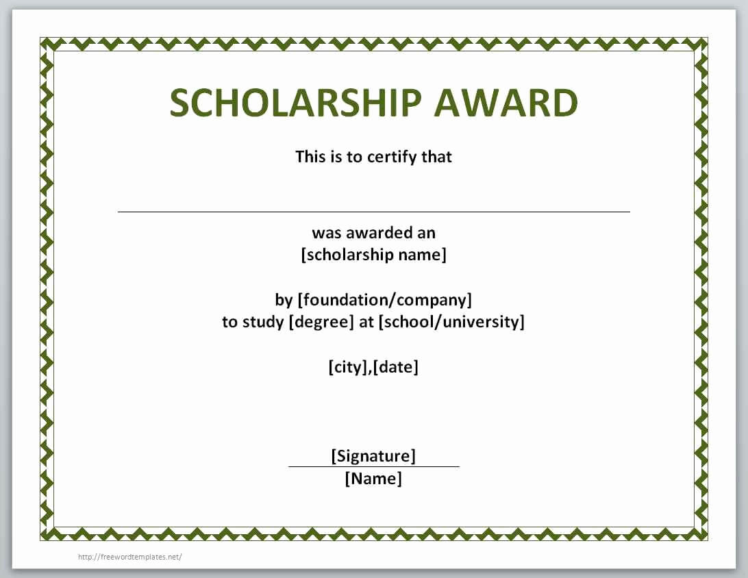 Free Printable Certificate Templates Best Of Award In Scholarship Certificate Template Word