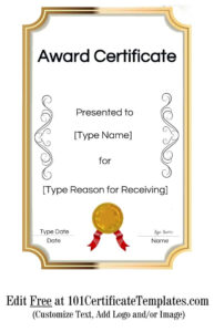 Free Printable Certificate Templates | Customize Online intended for Template For Certificate Of Award