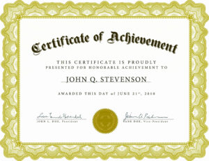 Free Printable Certificate Templates Of Certificate in Free Printable Certificate Of Achievement Template
