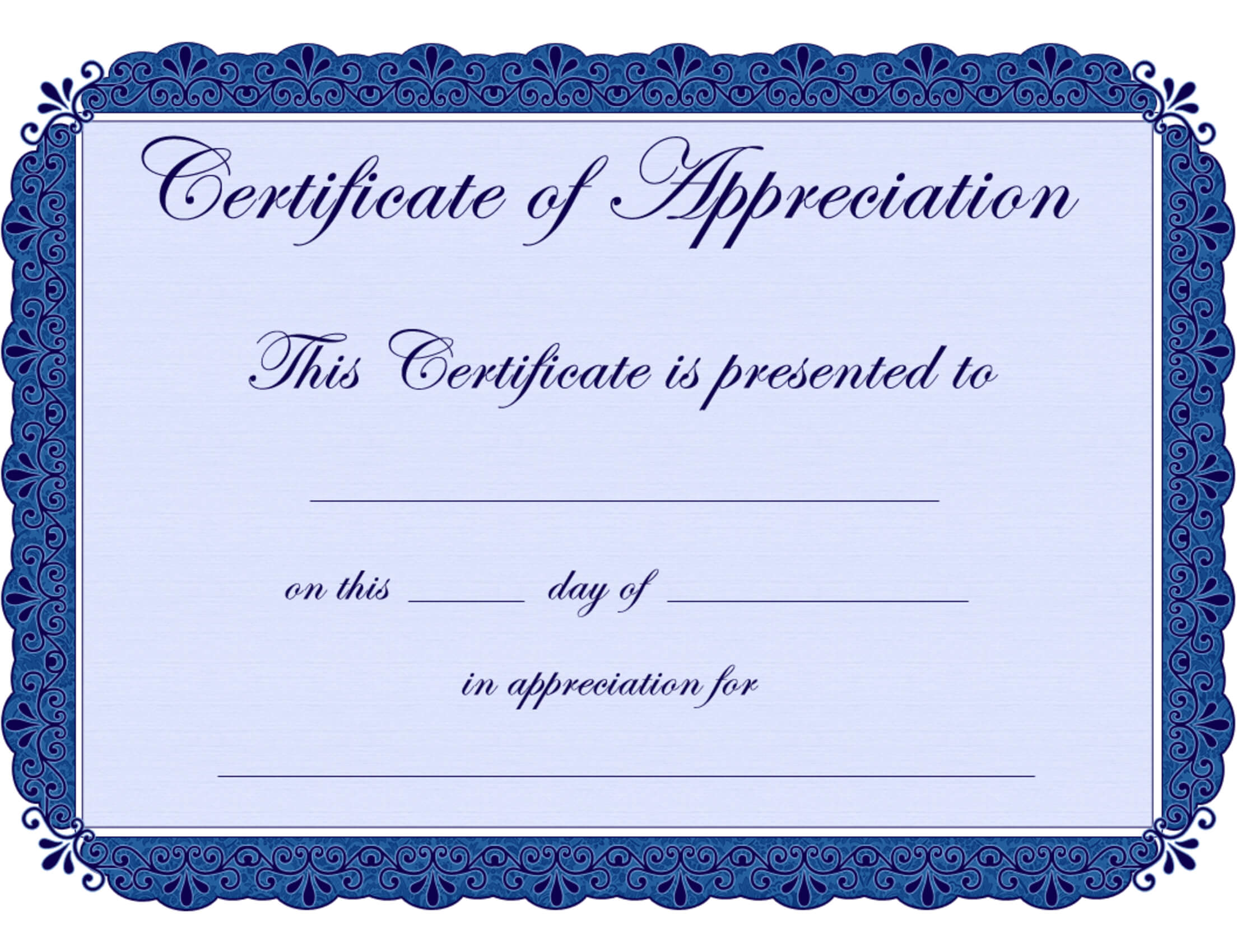 Free Printable Certificates Certificate Of Appreciation For Free Template For Certificate Of Recognition