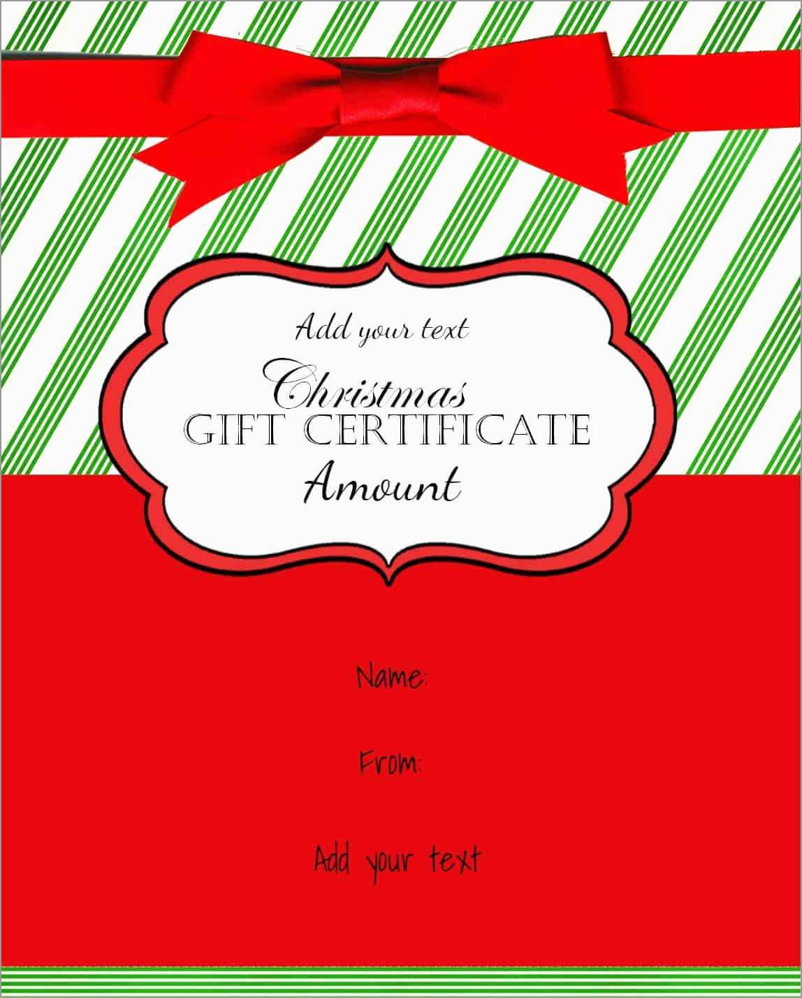 Free Printable Christmas Gift Certificate Template Word Pertaining To Christmas Gift Certificate Template Free Download