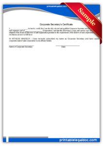 Free Printable Corporate Secretary's Certificate | Sample In Corporate Secretary Certificate Template