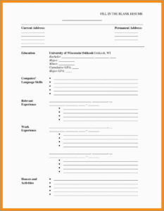 Free Printable Cv Template Blank Download Online Resume throughout Free Blank Cv Template Download