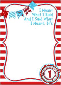 Free Printable Dr Seuss Birthday | Free Printable For Dr Seuss Birthday Card Template