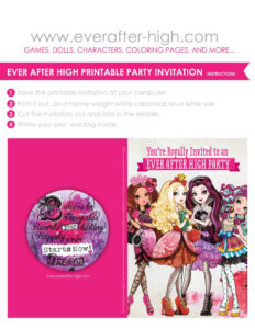 Free Printable For An Ever After High Birthday Party for Monster High Birthday Card Template