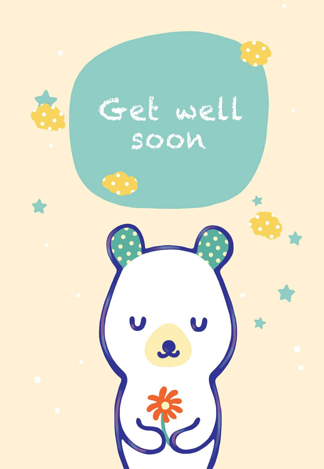 Free Printable Get Well Teddy Bear Greeting Card With Get Well Soon Card Template
