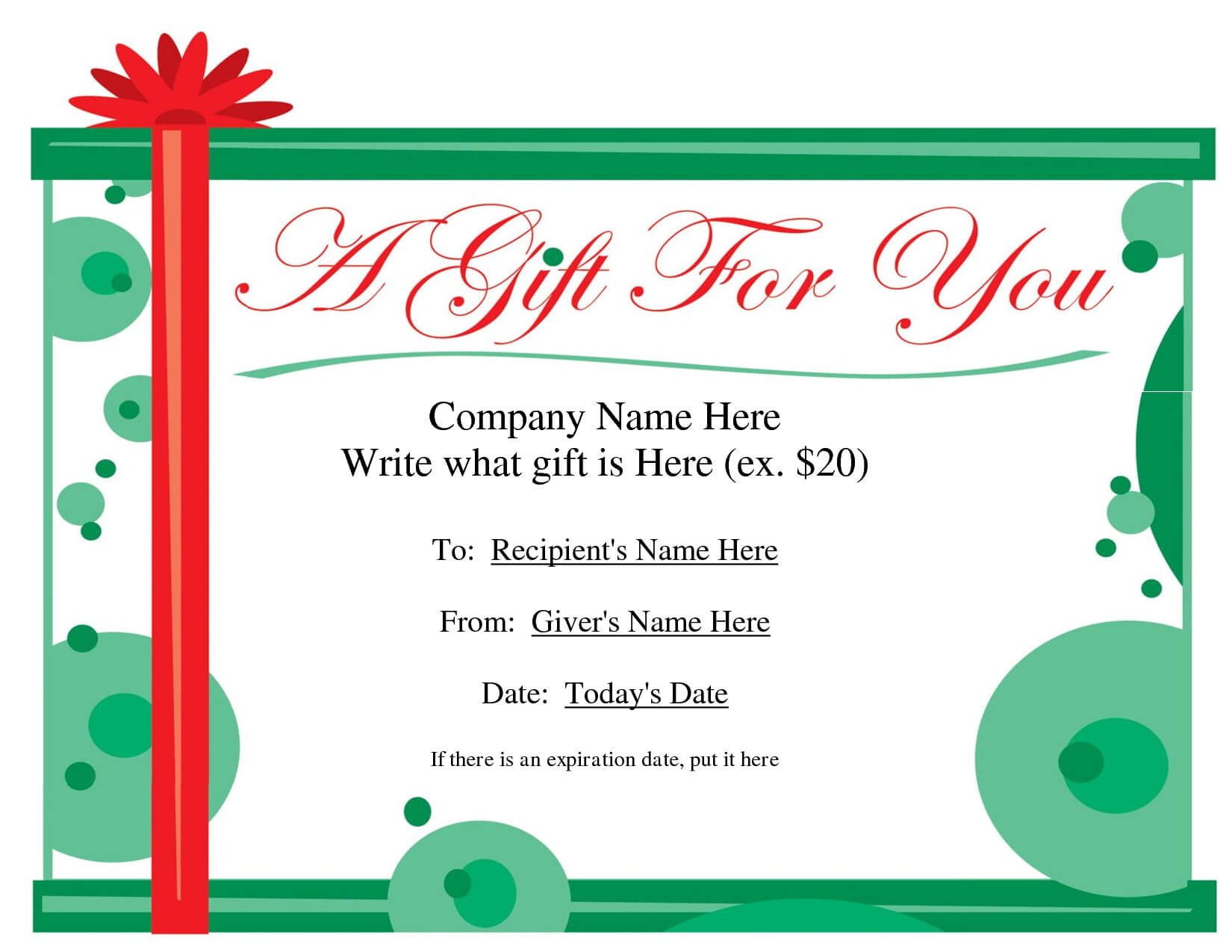 Free Printable Gift Certificate Template | Free Christmas In Homemade Christmas Gift Certificates Templates