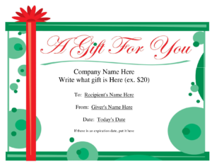 Free Printable Gift Certificate Template | Free Christmas in Homemade Gift Certificate Template