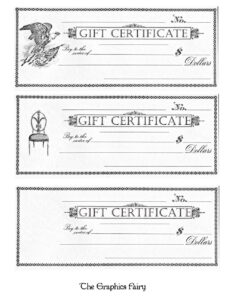 Free Printable – Gift Certificates – The Graphics Fairy with regard to Black And White Gift Certificate Template Free