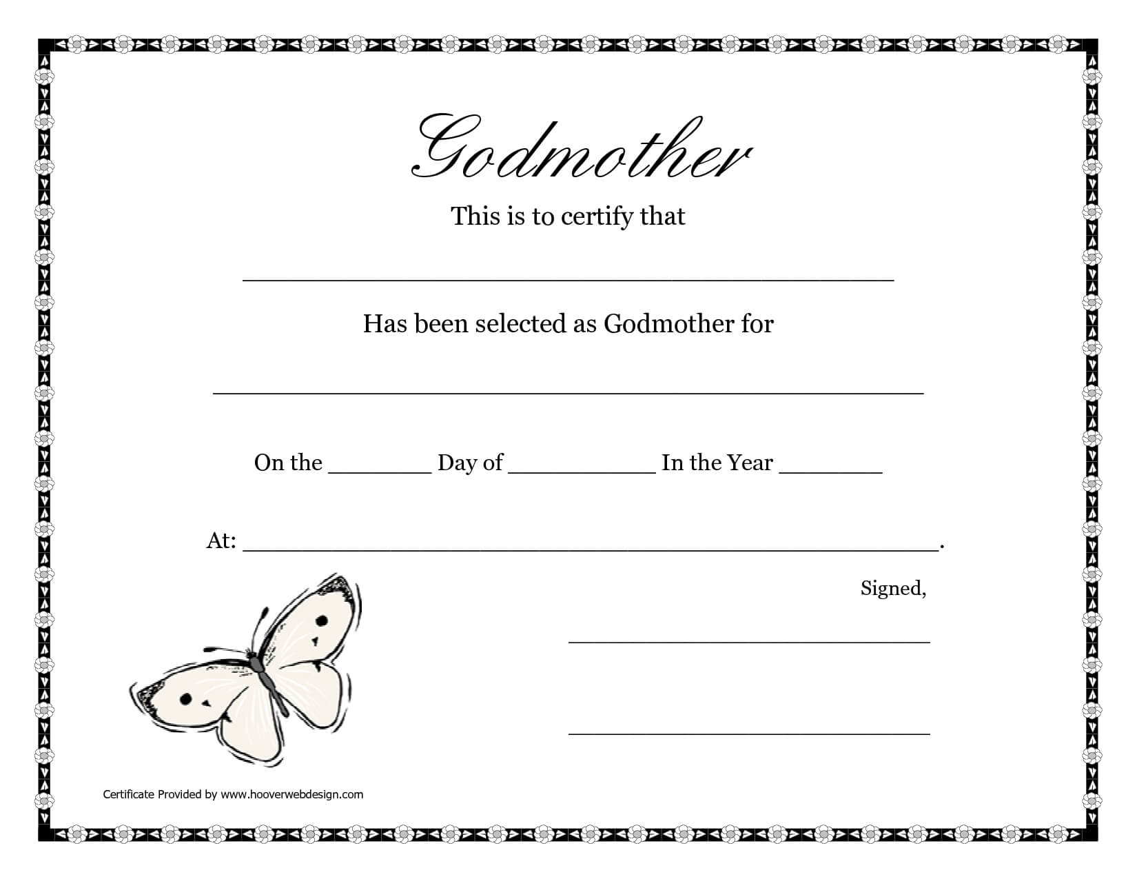 Free Printable Godparent Certificates | Printable Godmother With Walking Certificate Templates