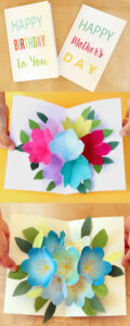 Free Printable Happy Birthday Card With Pop Up Bouquet – A throughout Pop Up Card Templates Free Printable