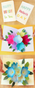 Free Printable Happy Birthday Card With Pop Up Bouquet in Free Printable Pop Up Card Templates