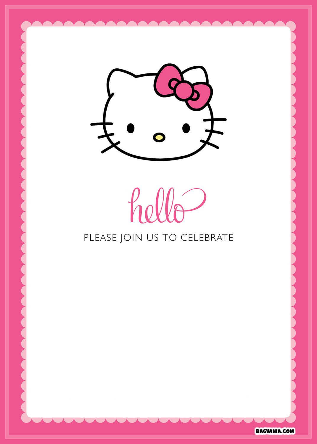 Free Printable Hello Kitty Birthday Invitations – Bagvania regarding Hello Kitty Birthday Card Template Free