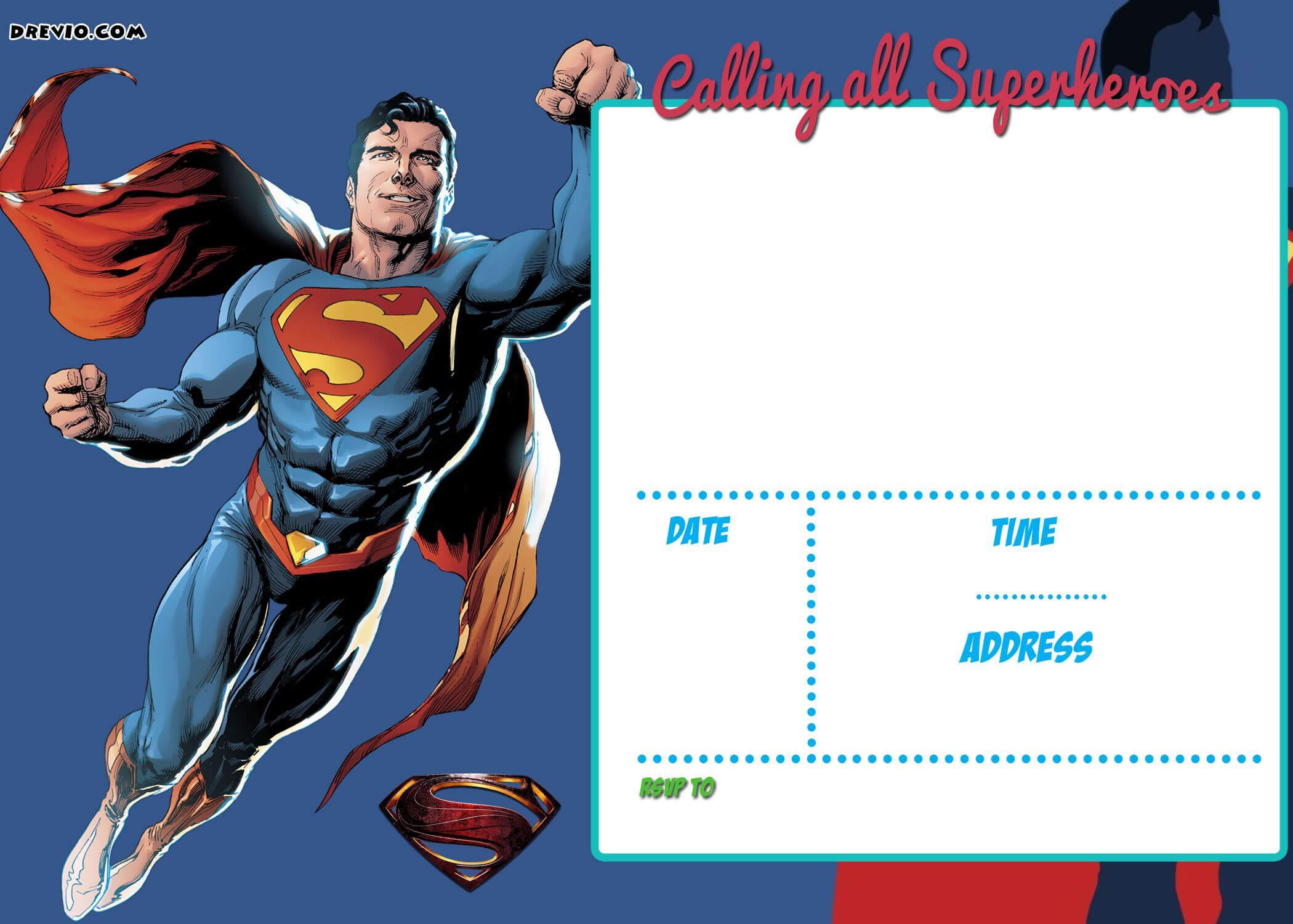 Free Printable Justice League Invitation Template   Liga De Inside Superman Birthday Card Template