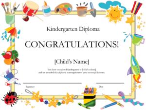 Free Printable Kindergarten Diplomaprintshowergames for Preschool Graduation Certificate Template Free