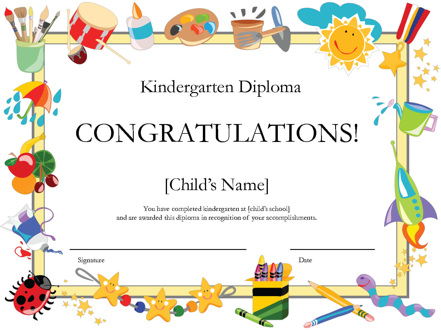 Free Printable Kindergarten Graduation Certificate Template with Free Printable Graduation Certificate Templates