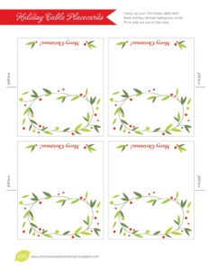 Free Printable Lemon Squeezy: Day 12: Place Cards in Christmas Table Place Cards Template
