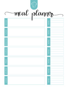 Free Printable Meal Planner Set – The Cottage Market throughout Blank Meal Plan Template